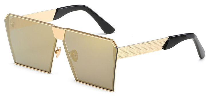 Ochelari de soare Rectangular Plat Oglinda Verde cu nuanta Aurie - Auriu thumbnail
