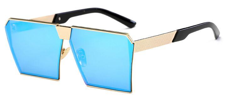 Ochelari de soare Rectangular Plat Oglinda Albastru - Auriu thumbnail