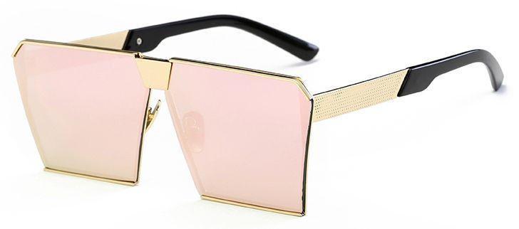 Ochelari de soare Rectangular Plat Oglinda Roz - Auriu thumbnail