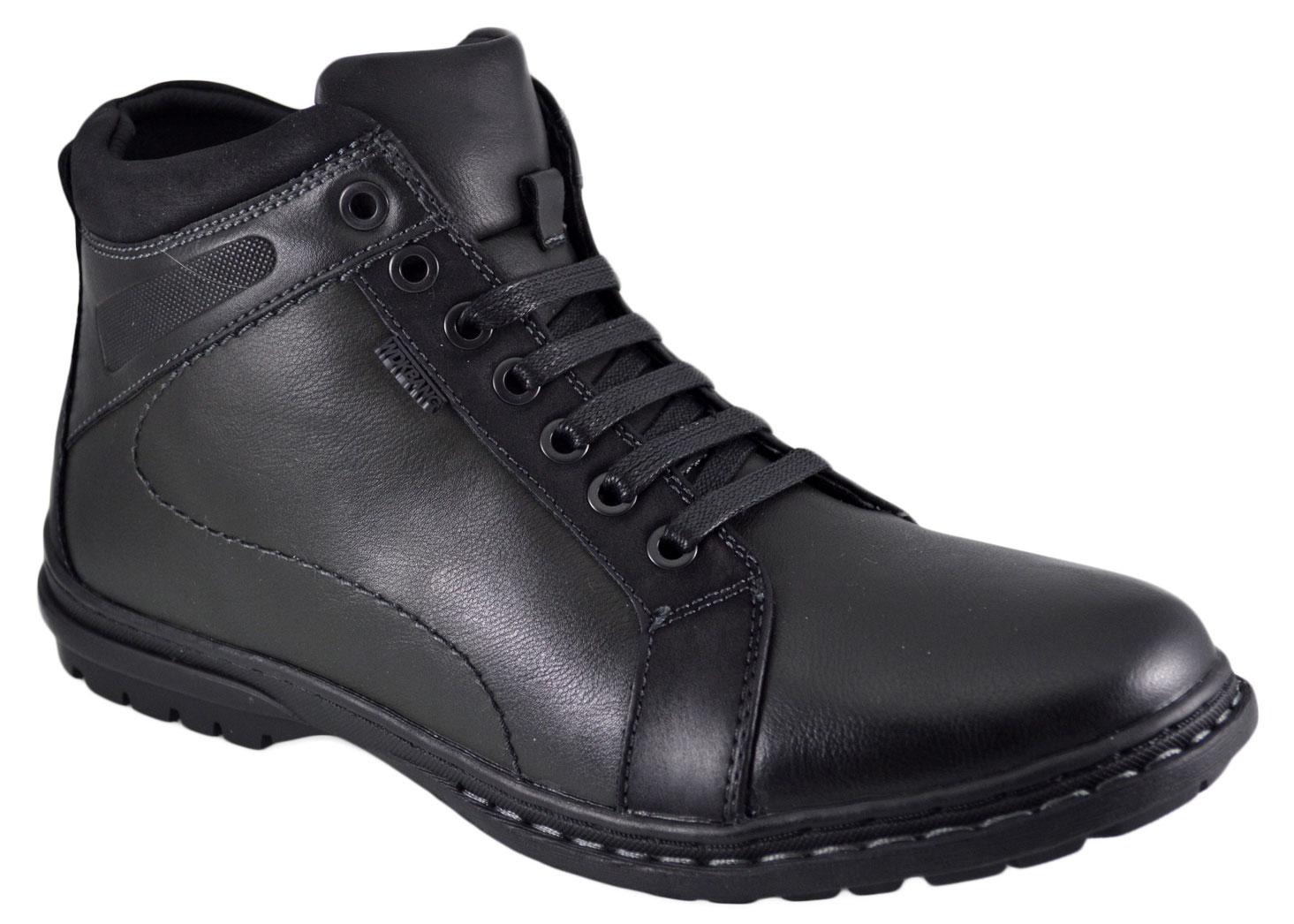 Pantofi Sport Negri tip Ghete Barbati negri piele imblanite - WDK