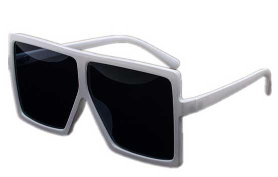 Ochelari de soare Rectangular Plat Supradimensionati Alb