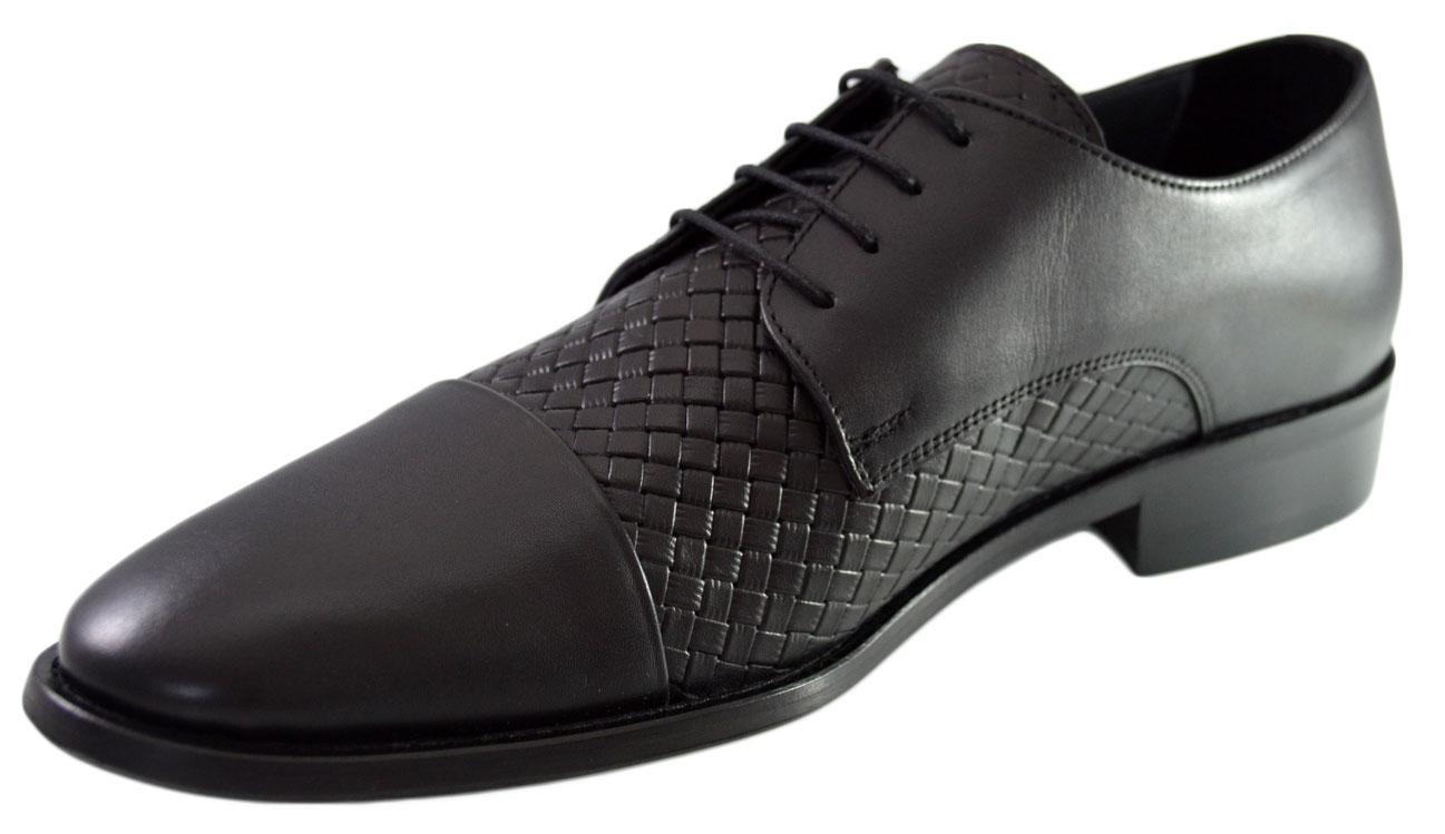 Imagine Pantofi Negri Barbati, Model Impletit Din Piele Naturala