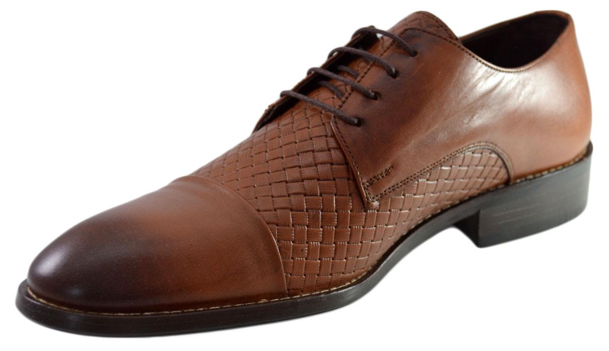Imagine Pantofi Maro Barbati, Model Impletit Din Piele Naturala