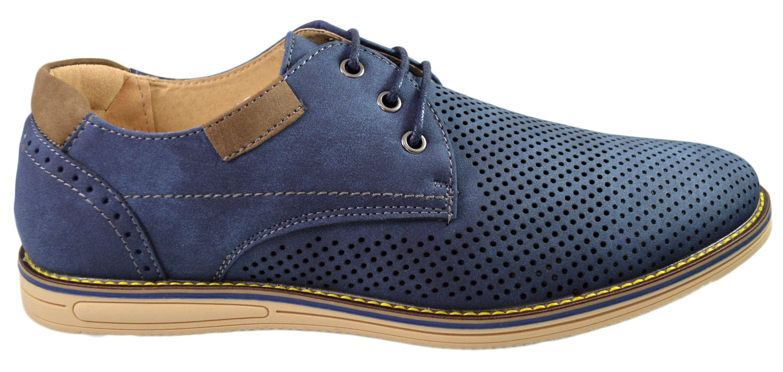 Imagine Pantofi Barbati Bleumarin Perforati Cu Sireturi