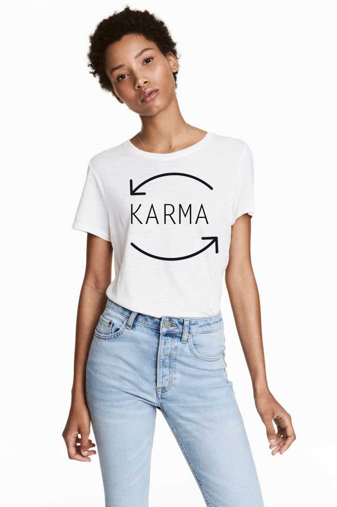 Tricou dama alb - Karma